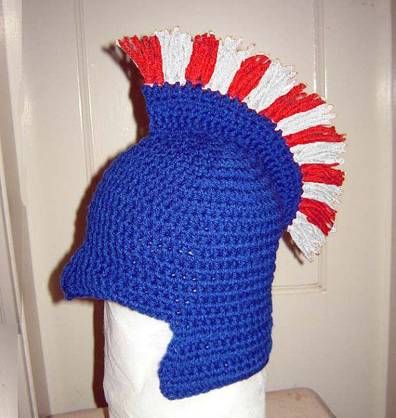 Crochet Pattern - Roman Soldier Helmet with Plume, Baby-Teenage sizes (PDF77)