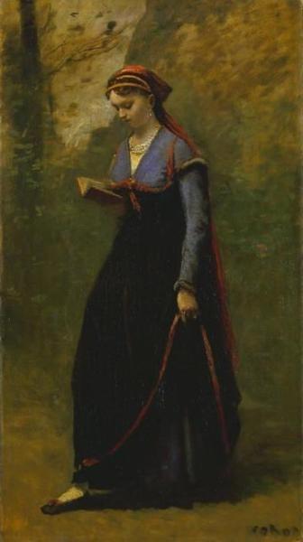 Lezend meisje in fluwelen rok, Jean Baptiste Corot