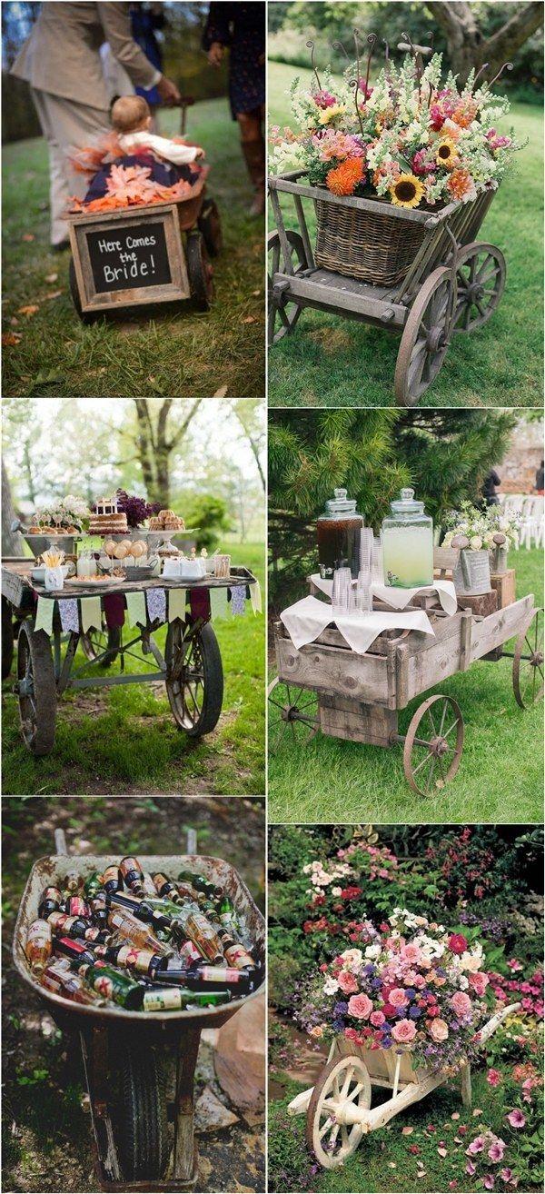 Rustic Wagon Wheelbarrow Wedding Decor Ideas / http://www.deerpearlflowers.com/wagon-wheelbarrow-country-wedding-ideas/