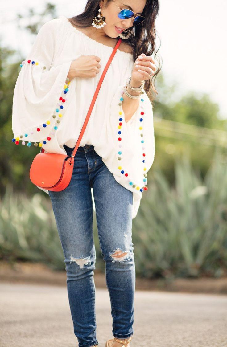 pom pom trim blouse, petite distressed jeans, rockstud look for less sandals, red saddlebag   summer outfit