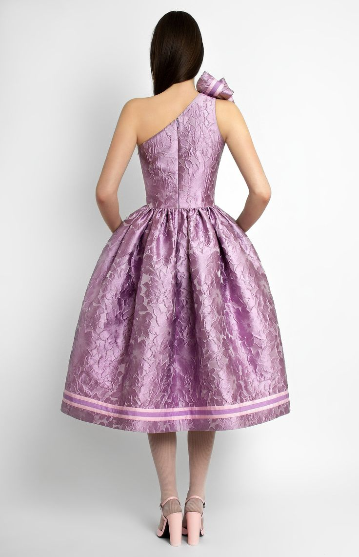 Asymmetric one-shoulder bouffant jacquard silk sleeveless dress. Decorative designer handmade bow. Hidden back zip closure. Side seam pockets. #Pintel #babydoll #evening #cocktail #bridal #dress #cute #pretty #silk #jacquard #midi #rococo #style