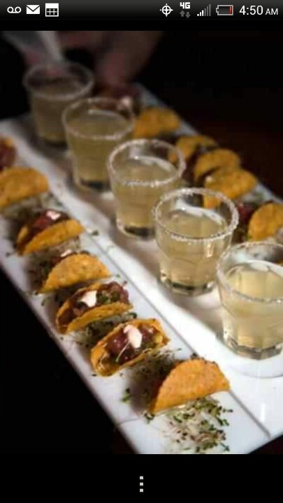 Mini tacos and margarita shots