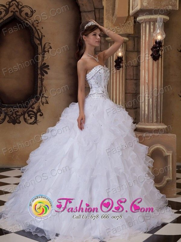 White ball gown embroidered mexican wedding dress