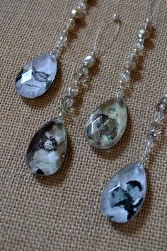 handmade christmas crystal ornaments with pictures. A new way to make your Christmas tree a family tree. :)