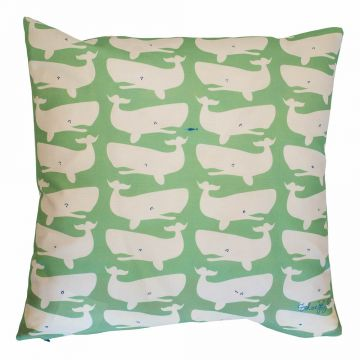 Whale pillow from Tröskö Design. White on spring green.