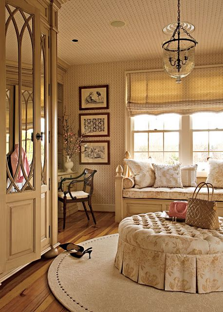 Beautiful dressing room#Repin By:Pinterest++ for iPad#: Vanities Area, Window Benches, Round Rugs, Closet Doors, Dreams Closet, Dresses Area, Traditional Home, Design Tips, Dresses Rooms