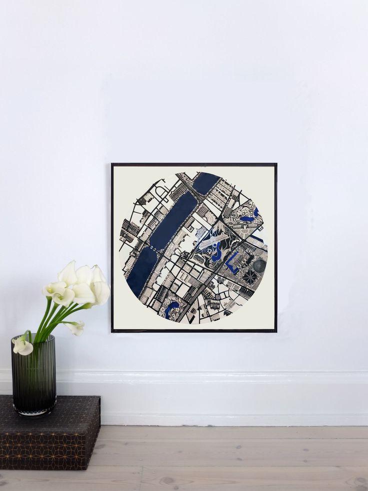 NØRREPORT MAP - 2012 50x50cm Ink, Acrylic & Watercolor