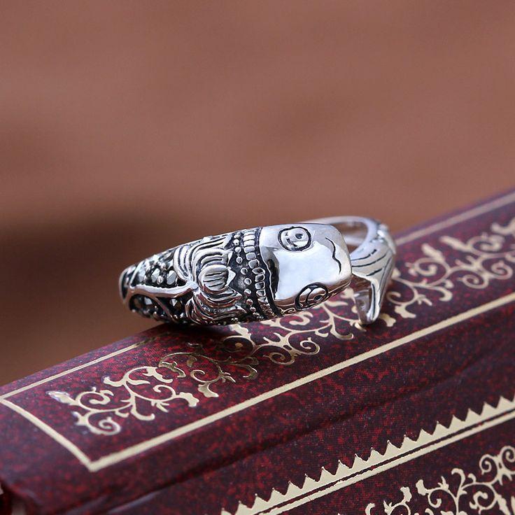 Серебро 925 чистого серебра старинные тайский серебро лотоса рыбы безымянный палец кольцо марказит женская мизинец кольцо