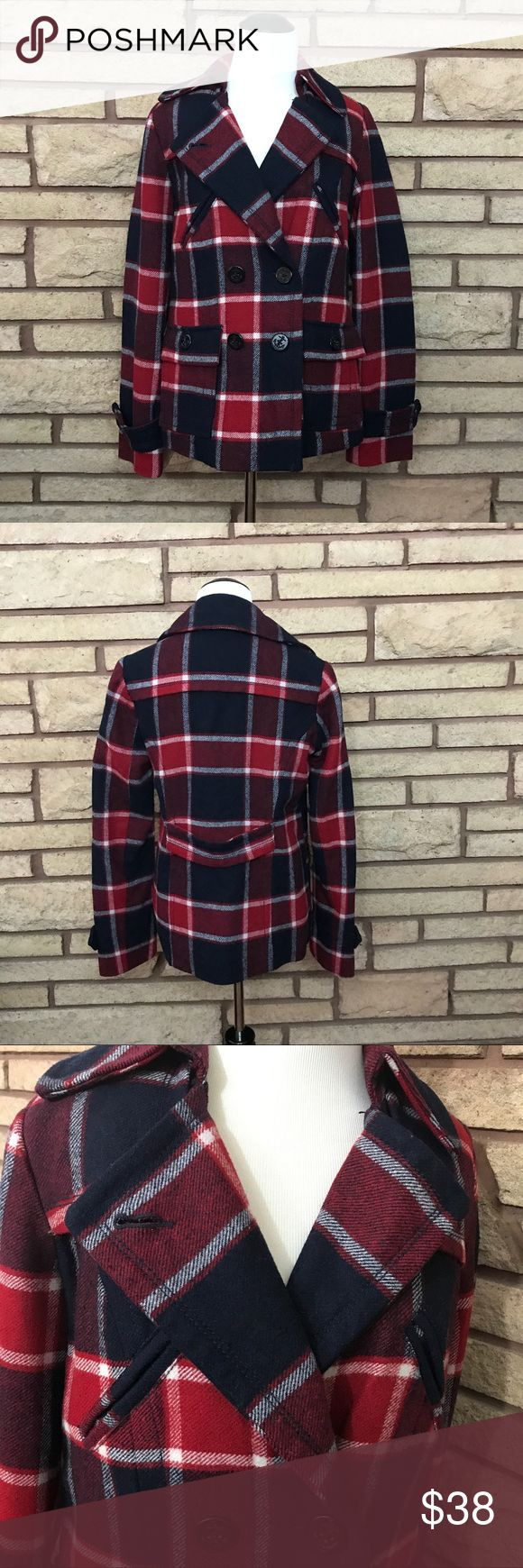 American Eagle Plaid Peacoat 🌑Beautiful red white and blue peacoat   🌘In good used condition    🌗Material: 40% wool 60% rayon  🌖Dimensions: 16in bust, 25in top to bottom  🌕Offers Welcome 🌔Fast shipping 🌓Sorry, no trades 🌒Bundle and save 30% off two or more items 🌑Free gift with every purchase American Eagle Outfitters Jackets & Coats Pea Coats