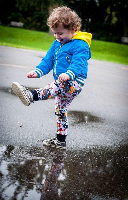 Saturday morning puddle splashing in Baby Animal Teegy Tights!