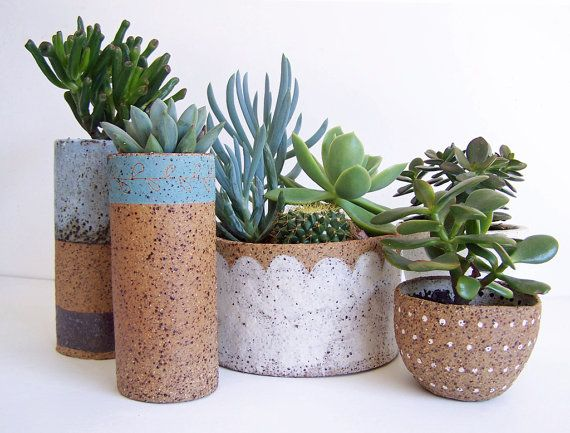 Succulent Planter  Ceramic Planter  Stoneware  by susansimonini, $25.00