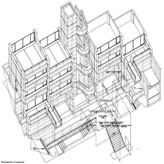[ 록고 집합주택 1 - 입면, 단면도 ] :: Rokko Housing Pharse Ⅰ (록고집합주택) .. Ando Tadao - 위...