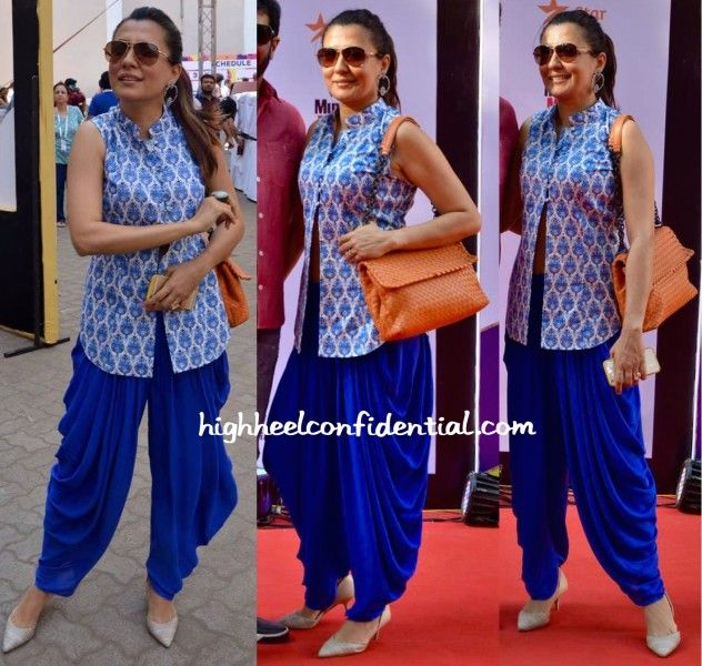 Wearing her Payal Pratap pants with a block-printed vest, Mini attended the ongoing Mumbai film festival. With her hair pulled back in a ponytail, she finished out the look with a pair of hoops, neutral pumps and an orange Bottega Veneta bag for a bit of pop. She looked nice! Mini Mathur At MAMI 2015 …