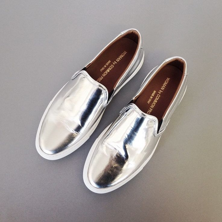 Silver Common Projects Slip On Sneakers // #fashion