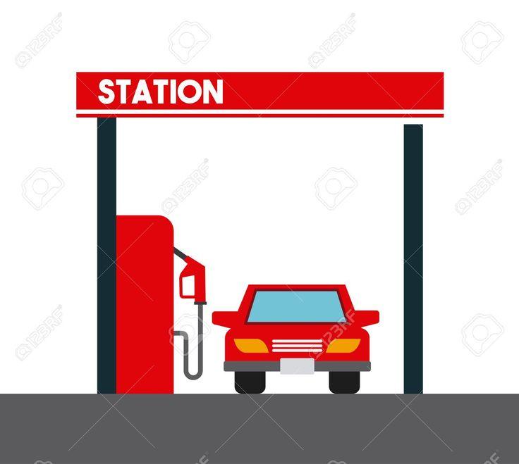 АЗС и значок автомобиля на белом фоне. красочный дизайн. векторные иллюстрации Клипарты, векторы, и Набор Иллюстраций Без Оплаты Отчислений. Image 67285632.