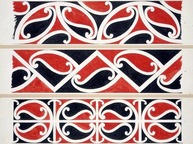 Williams, Herbert William 1860-1937 :Designs of ornamentation on Maori rafters. Nos. 7, 8, 9 [1890s]