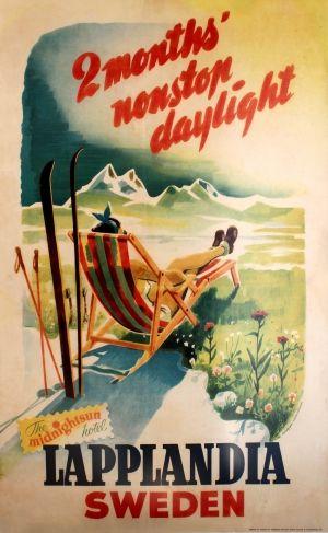 Lapplandia Sweden Skiing, 1950s - original vintage poster listed on AntikBar.co.uk