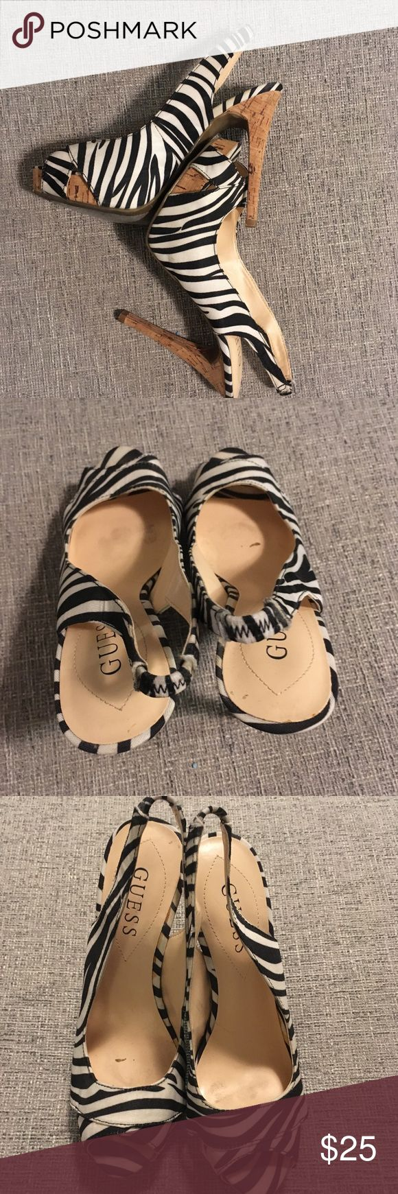 Guess Zebra heels Gently used Guess Zebra heels. Size 7. Guess Shoes Heels