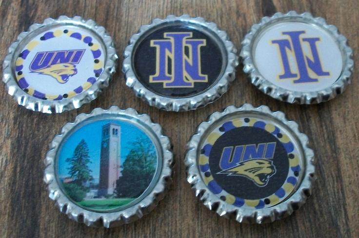 University of Northern Iowa Bottlecap Magnets. $6.00, via Etsy.