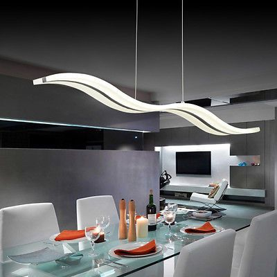 Modern 40W LED Acrylic Chrome Pendant Lights Ceiling Lamp Dining Room Chandelier