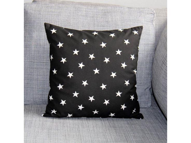 Bílé hvězdy na černé. Originální dekorativní bavlněné povlaky na polštáře, šité z kvalitní designované 100% bavlny vyšší gramáže, k zútulnění vašeho domova.