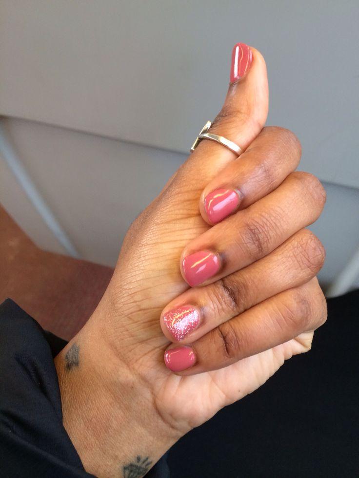 Gel nails using Sally Hansen gel polish color So Much Fawn. Hands down