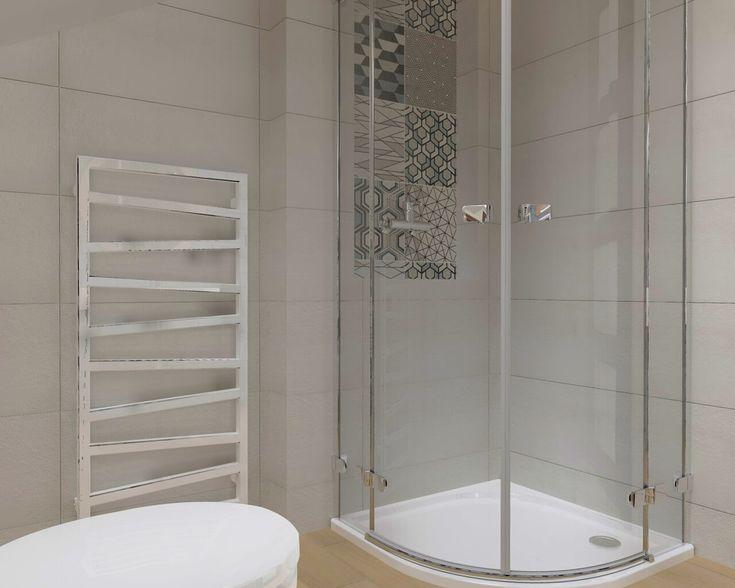 """Pomysł na łazienkę na poddaszu, opiera się na naturalnym wykorzystaniu przestrzeni. Symetryczne umieszczenie półek we wnękach po obu stronach systemu WC oraz """"ukrycie"""" muszli w dekoracyjnym pasie efektownej geometrii sprawiają, że w łazience zaczynają dominować funkcje inne niż ta najbardziej oczywista. aranżacja I wnętrze I łazienka I salon I kuchnia I architektura I styl I bathroom I kitchen I living room I details I ceramic tiles   drewno"""