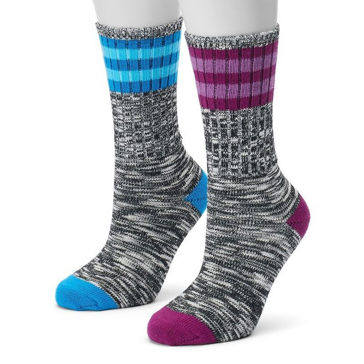 Women's Champion 2-pk. Outdoor Performance Rugby Stripe Crew Socks, Blue