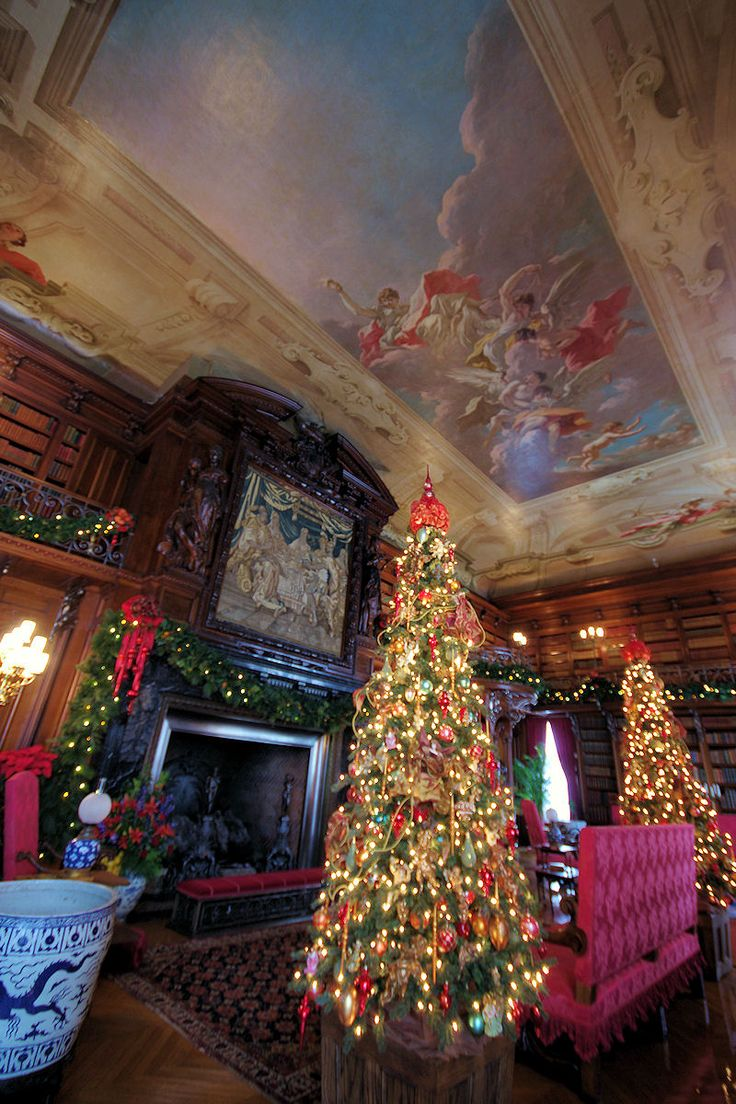Library inside Biltmore House decorated for Christmas 2013