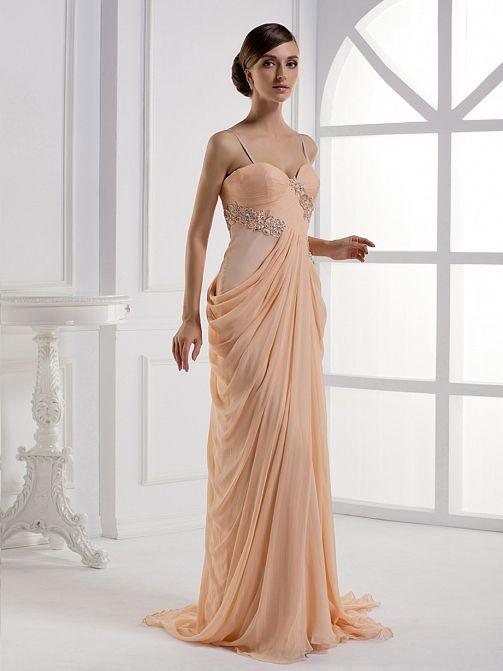 2012 Fall Spaghetti Straps silk chiffon bridesmaid dress