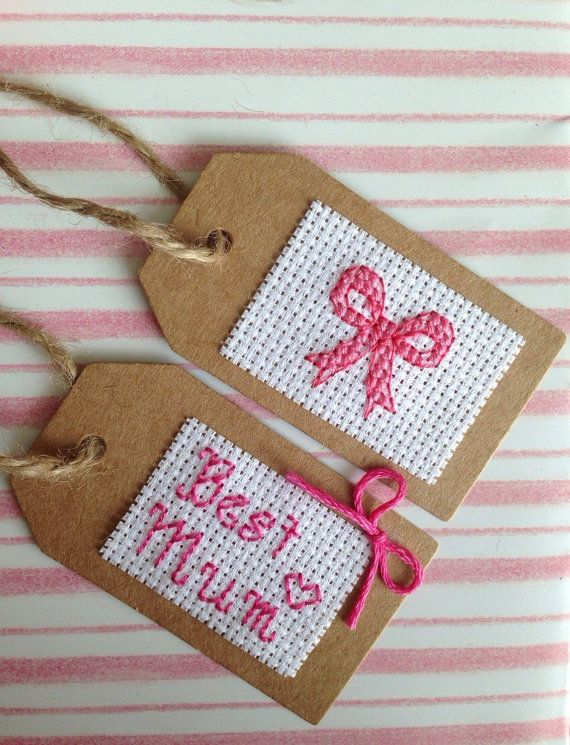 "Set of 2 Mothers Day Cross Stitch Gift Tags For Mom Present • Best Mum & Pretty Bow Birthday 7cm x 4cm (2.75"" x 1.5"")"