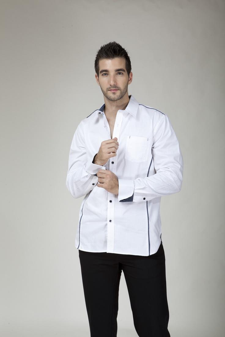Camisa manga larga American Blues botones y cuello azul.