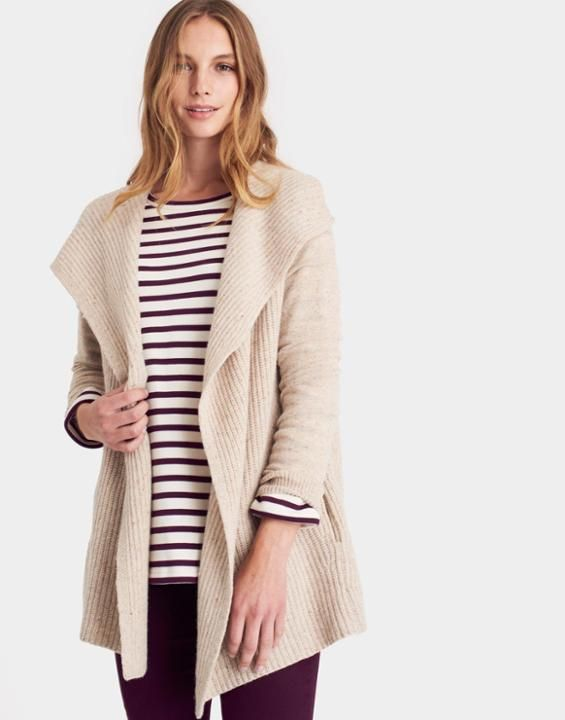 Jane Cream Waterfall Cardigan | Joules US