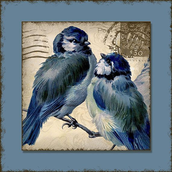 INSTANT DOWNLOAD Vintage Love Birds 1.5 por AudreyJeanneRoberts