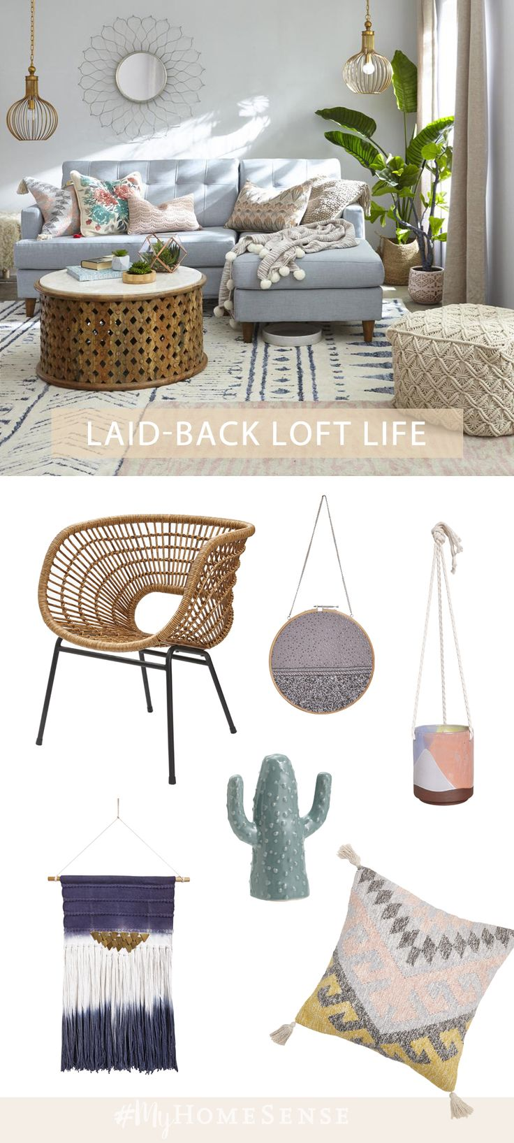 Love laid-back loft style? Achieve the layered boho look with #MyHomeSense. Piles of cushions and throws invite lengthy weekend lounging. We always have a soft-spot for layered rugs, adding the perfect amount of pattern play and softness underfoot. Visit us in-store for lovable, layered loft style!