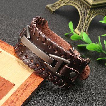 Punk Genuine Leather Bangle Chain Handmade Alloy Woven Wide Adjustable Men Bracelet at Banggood