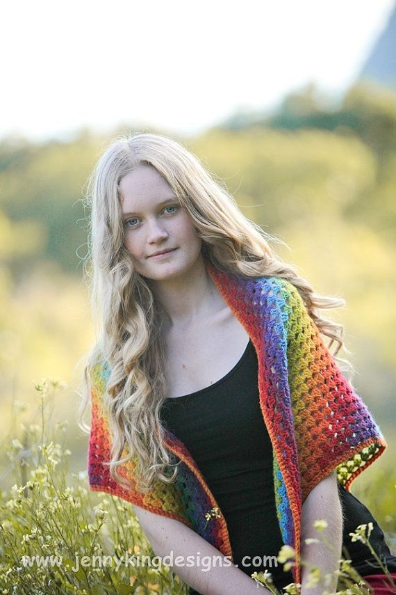 Rainbow crocheted shawl   - Kauni yarn - garment available via etsy