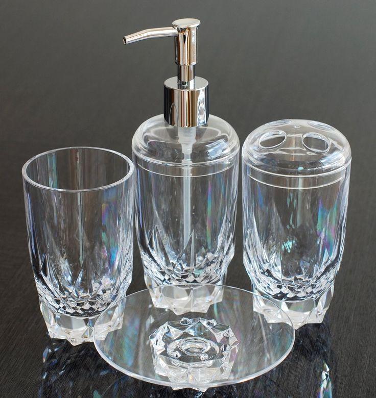 Heavy Base Acrylic Plastic 4-Piece Bathroom Accessory Set