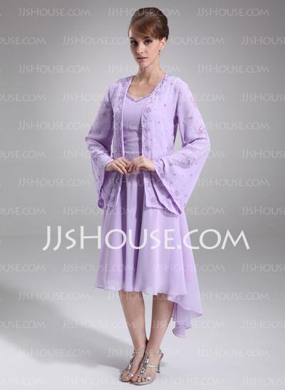 Mother of the Bride/Groom Dresses  A-Line/Princess V-neck Knee-Length Chiffon Mother of the Bride Dress With Beading (008005645) http://jjshouse.com/A-Line-Princess-V-Neck-Knee-Length-Chiffon-Mother-Of-The-Bride-Dress-With-Beading-008005645-g5645