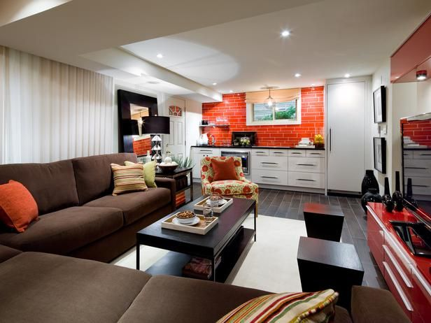 lounge worthy basement like the layout but hate the orange red from - Basement Designer