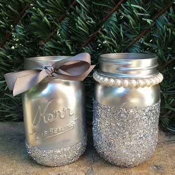 Glitter Mason Jars. Silver Mason Jars. Painted Mason Jars. Wedding Decor. Mason…
