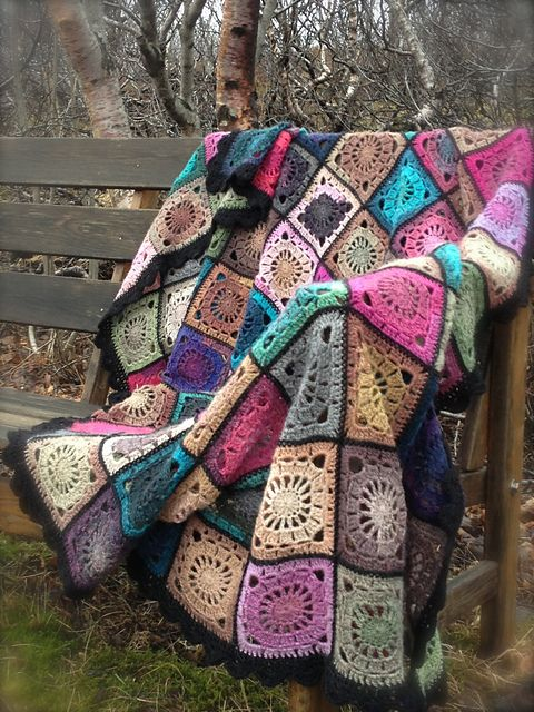 """Ravelry: Project Gallery for 124-1 Bohemian Oasis - Crochet blanket in """"Delight"""" and """"Fabel"""" pattern by DROPS design"""