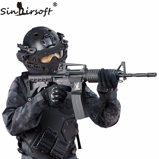 Sinairsoft nuevo g4 sistema tactical helmet abs mascarilla facial con goggle militar del ejército de airsoft paintball casco rápido