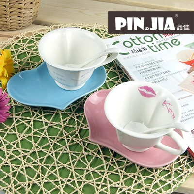 $4.96 Korean version of the dish with a spoon with a couple cups of coffee cup ceramic mugs creative mug birthday gift-ZZKKO