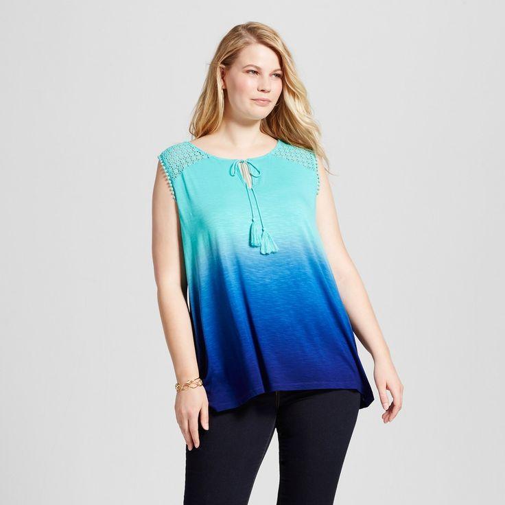 Women's Plus Size Tassle Dip Dye Blouse - U-Knit - Blue 3X