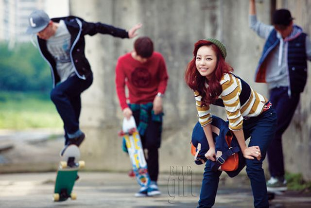 Goo Hara covers Elle Girl Korea's October issue  Goo Hara transformed into a sporty girl image while maintaining the gorgeous appearance in Lacoste's youthful and pretty sports collection.