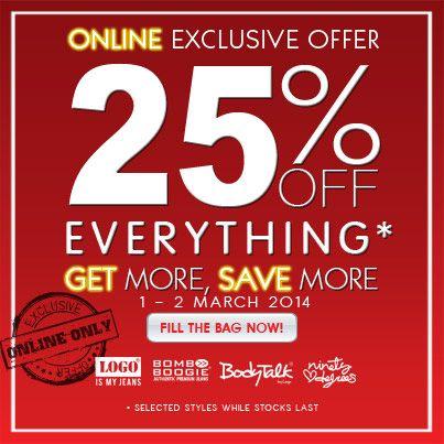 Weekend Ladies! Nikmati disc 25% semua produk BODYTALK hanya di www.bodytalk.co.id. Promo hingga 2 MAR 2014 loh