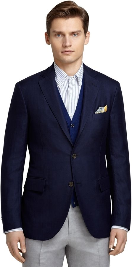 $549, Navy Wool Blazer: Brooks Brothers Three Button Navy Sport Coat. Sold by Brooks Brothers. Click for more info: https://lookastic.com/men/shop_items/297820/redirect