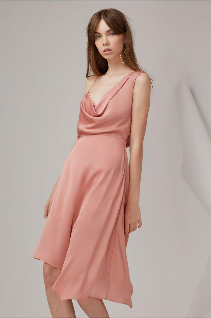 Sidelines Midi Dress. A gorgeous midi dress by Keepsake the Label. A draped neck style featuring low draped back and asymmetric skirt.