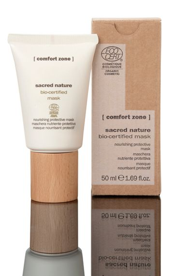 #ComfortZone Sacred Nature Mask. A nourishing and protective mask with precious natural and organic active ingredients for all skin conditions. In only ten minutes the skin is replenished but without any sensation of heaviness. With organic buriti oil, butterfly bush extract, shea butter & orange distilled water. HOW TO USE: apply an even layer to cleansed dry skin and leave for 10 minutes. Remove with warm water.